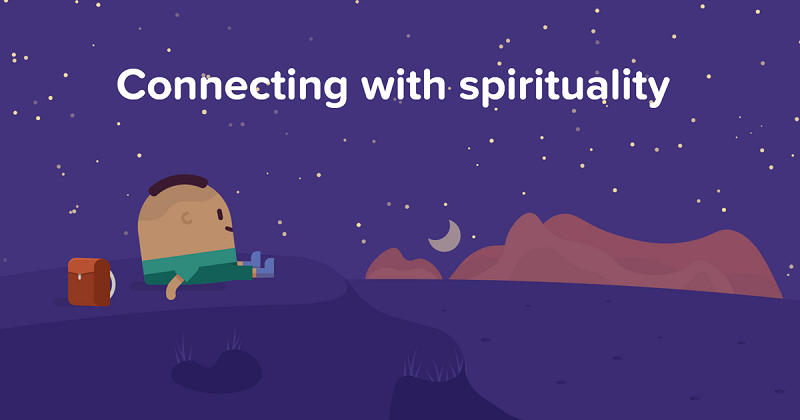 A drawn image of a small boy sitting and dreaming with a spiritual connect.