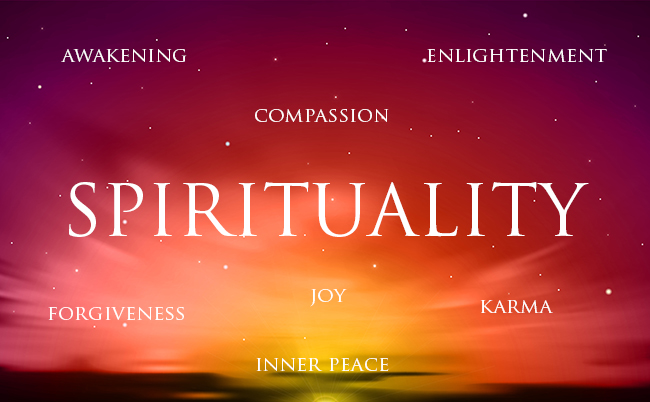 Spirituality and its related terms in white colored font with beautiful and colorful background.