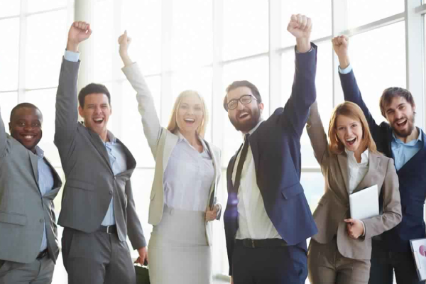 Group of Cheerful & Happy Corporate People Celebrating Their Success.