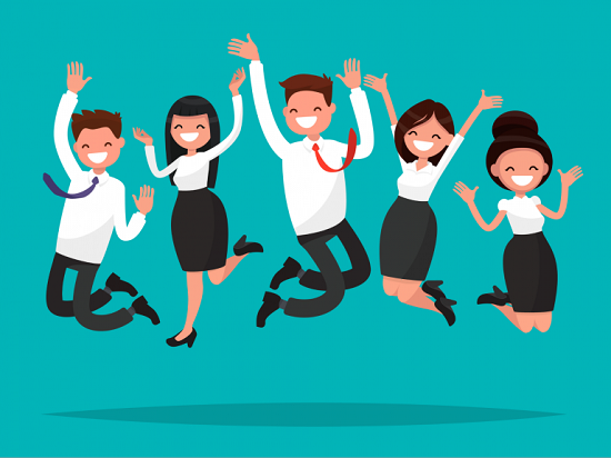 Vector Image Of Cheerful & Happy Corporate People Celebrating Their Success.